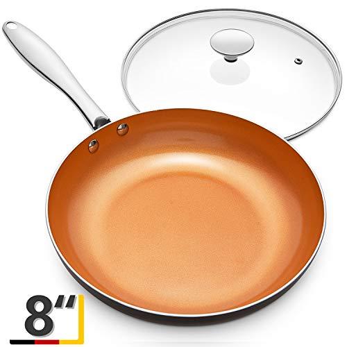 MICHELANGELO Frying Pan with Lid, Nonstick 8 Inch Frying Pan with Ceramic Titanium Coating, Copper Frying Pan with Lid, Small Frying Pan 8 Inch, Nonstick Frying Pans, Small Copper Skillet - 8 Inch