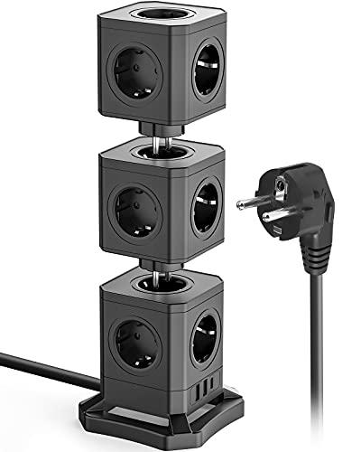 KOOSLA Regleta con protección contra sobretensiones de 13 tomas, torre con 30 W USB-C y 2 USB-A – Enchufe múltiple desmontable, cable de 1,8 m, color negro