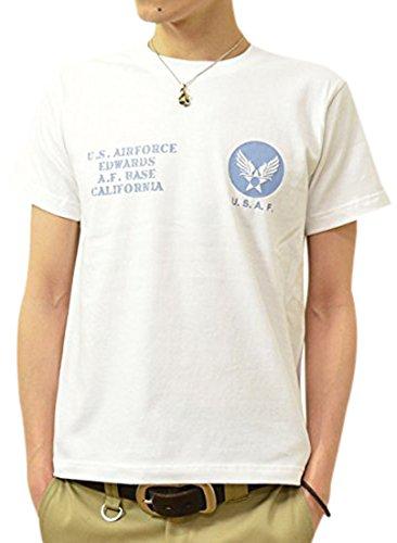 (ジーンズバグ)JEANSBUG U.S. AIR FORCE オリジナル エアフォース ミリタリー プリント 半袖 Tシャツ メンズ レディース 大きいサイズ ST-USAF M シロ×サックス(11)