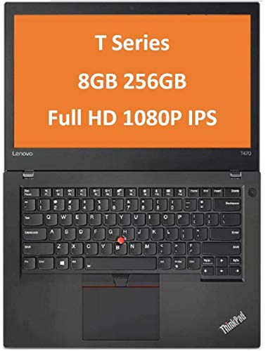 Lenovo ThinkPad T470 14' IPS Full HD FHD (1920x1080) Business Laptop (Intel Core i5-6300U, 8GB DDR4 RAM, 256GB PCIe NVMe M.2 SSD) Thunderbolt 3, Type-C, HDMI RJ-45, Windows 10 Professional (Renewed)