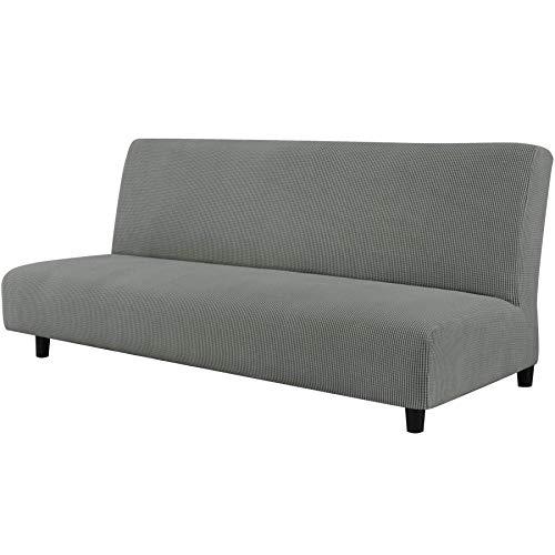 CHUN YI Funda de Sofá sin Brazo Cubierta de Sofá Cama Elástica Plegable sin Reposabrazos, Protector para Futón Couch Bench de 3 Plazas (Paloma Gris)