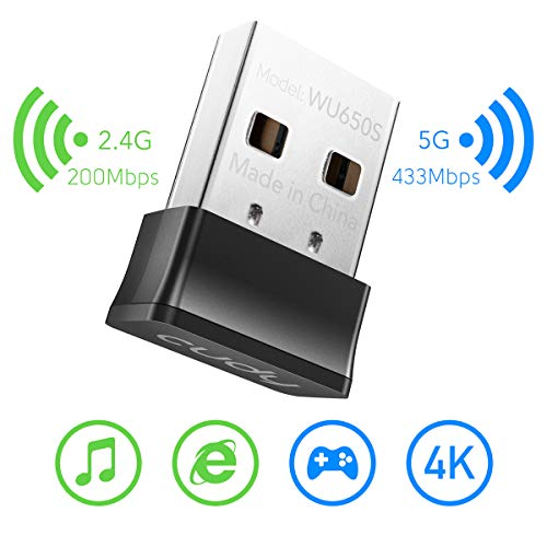 Cudy 650Mbps Nano Size USB WiFi Adapter, Dual Band 5GHz/2.4GHz Wireless Adapter, for PC/Desktop/Laptop -CD Included, Nano Size, Compatible with Windows XP/7/8/8.1/10