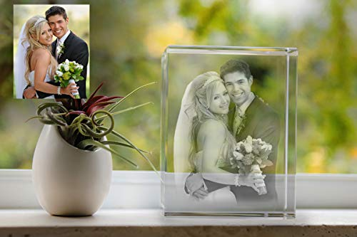 3D Laser Etched Photo Crystal Gift - Medium Rectangle Portrait Shape | Custom Personalized Engraved Glass | Birthday, Anniversary, Mother's Day, Father's Day, Christmas - Perfect for Any Occasion