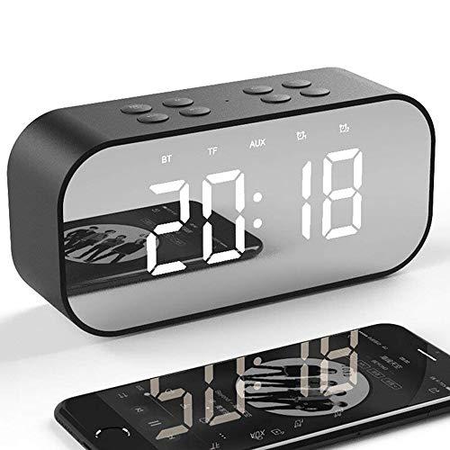 Reloj Despertador Digital con Altavoz Bluetooth Inalámbrico,2000mAh USB Recargable Despertador Electronico Espejo con Pantalla LED de Espejo/Alarmas Dobles/Micrófono/Brillo Ajustable en Hogar