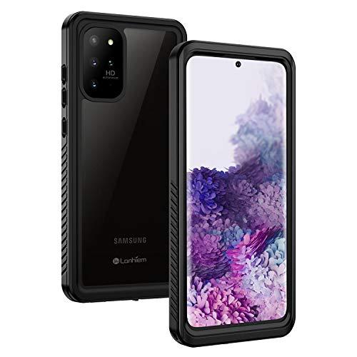 Lanhiem für Samsung Galaxy S20 Plus Hülle, IP68 Wasserdicht Handyhülle 360 Grad Schutzhülle, Stoßfest Staubdicht und Schneefest Outdoor S20+ Panzerhülle mit Eingebautem Displayschutz, Schwarz