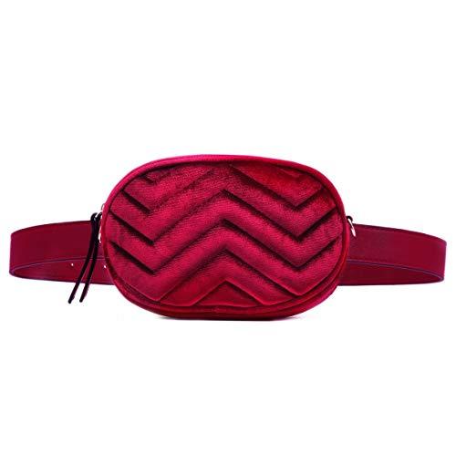 CRAZYCHIC - Damen Hüfttasche Gürteltasche Bauchtasche - Ovale Geldbörse Fashion Bumbag - Kleine Mini Umhängetasche Kette Schultertasche - Gestepptes Leder Samt Pelz - Mode Clutch - Rot