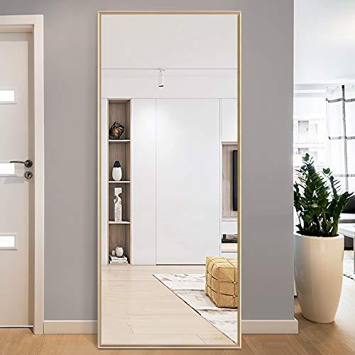 PexFix - Espejo dorado de longitud completa de 150 x 50 cm, estilo moderno y elegante, marco de metal cepillado, espejo de pared para...