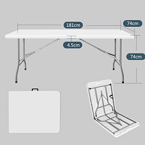 ZFLL klaptafel en stoelen, voor picknick, voor buiten, inklapbaar en licht L 1,8 m bianco