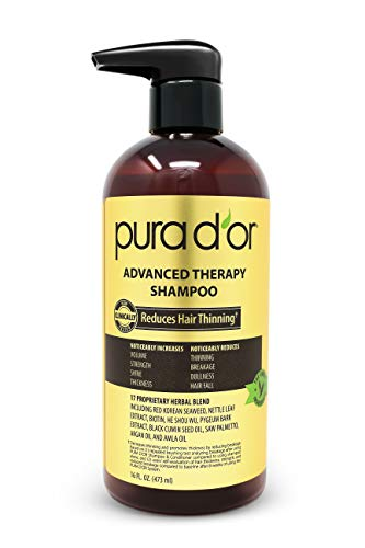 PURA D'OR Advanced Therapy Shampoo Reduces Hair Thinning & Increases Volume, Sulfate Free,...