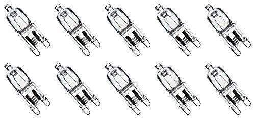 Value 10 Pack 25W Q25/G9/CL/120V G9 JCD 25 Watt 120 Volt T4 JD Type Glass Halogen Replacement Light Bulb Hanging Pendant Accent JCD Industrial Architect Desk Lamp Landscape Fixture Lighting High CRI