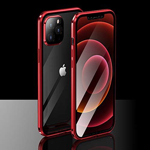 Ceedoo Case para iPhone 12 Pro AdsorcióN MagnéTica Transparente Funda Doble Cristal Templado 360 Telephone Carcasa ProteccióN De La CáMara Incorporado, Rojo