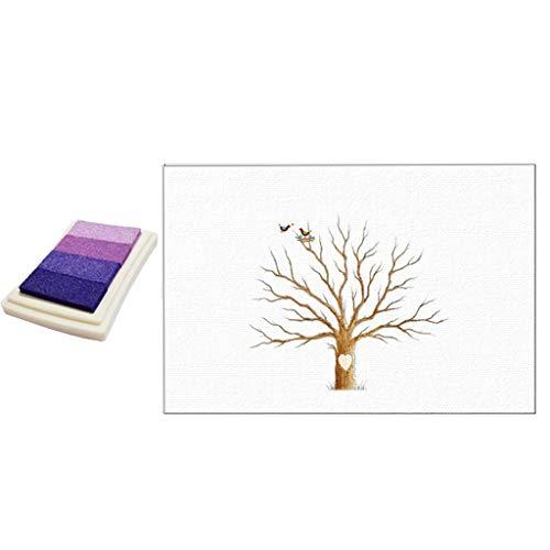 Baoblaze Libro de Visitas de La Pintura de La Lona de DIY del árbol de Las Huellas Dactilares para La Boda - Púrpura, Individual