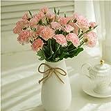 MZMing [4 Pièces Meilleur Cadeau de Fête des Mères 10 Tête D'oeillet Oeillets Artificiel Fleur Soie D'oeillet Fleurs Mariage à Domicile Vases Graves Bouquet pour Tombe Décoration – Rose Clair