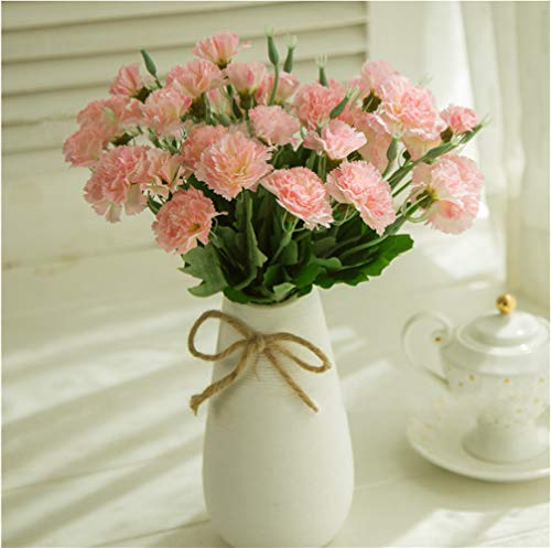 MZMing 4 Stück Best Mother 's Day Geschenk 10 Kopf Künstlichen Nelke Blumen Fake Seide Bush Künstlicher Blumenstrauß Home/Hochzeit/Grab/Vase Dekoration - Hellrosa