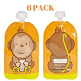 Fill N Squeeze下部Opening再利用可能なポーチfor Easy Cleaning。6x 150mlパックEasy Fill & Clean Pouches Perfect for Weaning Pureed、旅行、果物、有機& Homemadeベビーフード赤ちゃん、幼児、& Kid