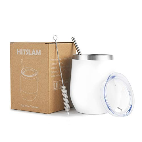HITSLAM Wine Tumbler 12oz Stainless Steel Tumbler Vacuum Insulated Wine Glass Double Wall Coffee Mug for Champaign, Beer, Office use includes Straw Lid, Straw, Cleaning Brush (White)