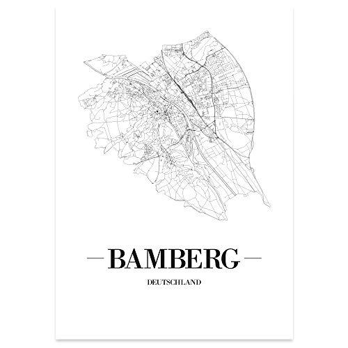 JUNIWORDS Stadtposter - Wähle Deine Stadt - Bamberg - 60 x 90 cm Poster - Schrift A - Weiß