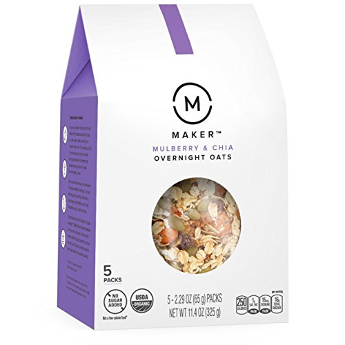Maker Overnight Oats, Mulberry & Chia, Organic, No Sugar Added, 5 Count, 2.29 oz Packs