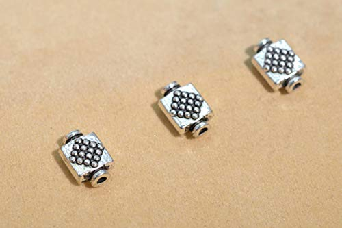 20 Pcs - 9x6MM Antique Silver Tone Square Spacer Beads (63335-2394)