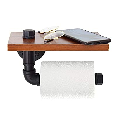 SUNMALL Industrial Toilet Paper Holder with Wooden Shelf, Wall-Mounted Metal Pipe Tissue Roll Hanger with Hardware for Bathroom
