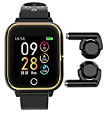 Smart Bracelet Bluetooth Earbuds with 1.4'' Touch Full Screen - 8 in 1 Watch TWS Earphones, MP3 Player, Pedometer, Fitness Tracker, Blood Pressure, Heart Rate Monitor, Calorie Counter for Men Women