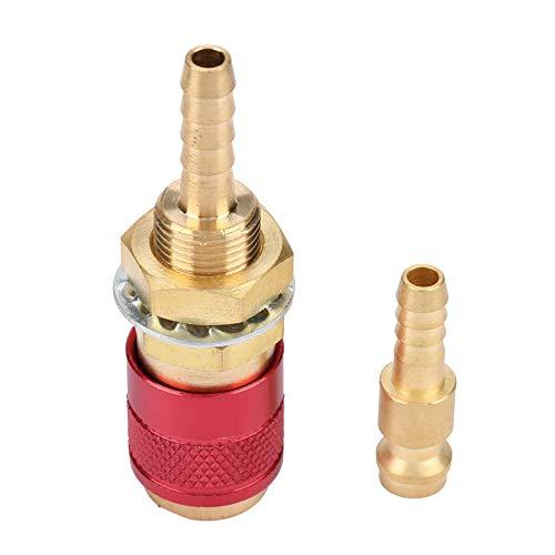 Xiuganpo Robuster wassergekühlter M6-Adapter, schnell montierter Schlauchanschluss aus Messing, für Mig-Wig-Schweißbrenner-Schweißbrenner(red)