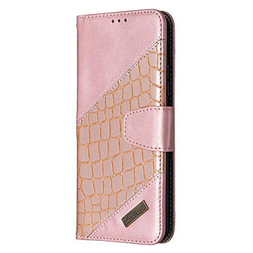 Draamvol Samsung Galaxy A02 Case Phone Cover for Samsung Galaxy A02 Flip Wallet, Protective Crocodile Pattern PU Leather Built-in Kickstand Magetic Clasp Notebook,Rose gold