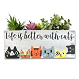 Cat Planter, Life is Better With Cats Wood Planter Box, Cat Mom, Cat Lovers, Mother's Day (Whitewashed Wood, Life is Better with Cats)