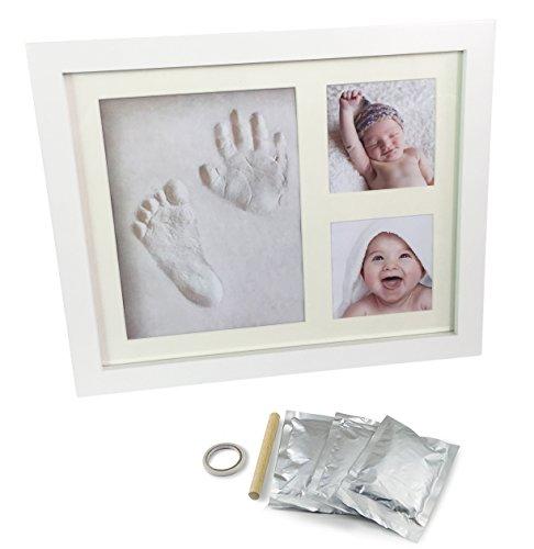 UMIGAL Baby Bilderrahmen für Handabdruck- und Fussabdruck Baby Handabdruck und Fußabdruck Bilderrahmen! Hand Foot Print mit 2 Teiliger Rahmen für Foto Babyandenken Baby Andenken