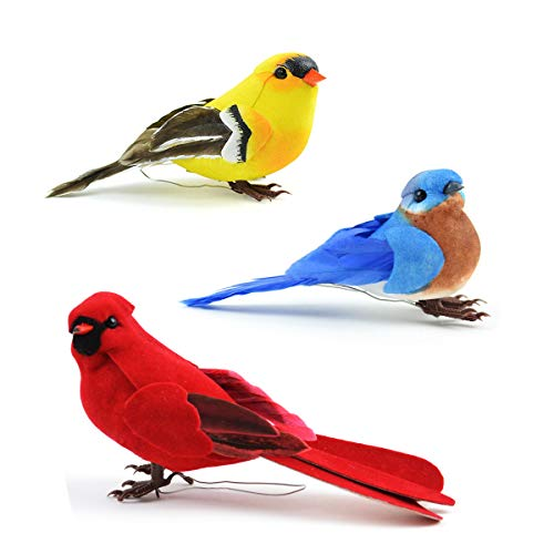 Set of 3 Artificial Birds for Decoration, Floral Arrangements and Arts & Crafts | Red Cardinal, Eastern Bluebird & American Goldfinch