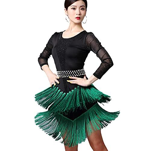 Vestido de Baile Latino de Manga Larga con Flecos de Diamantes de imitacin para Mujer,Verde,M