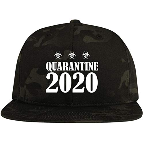 TeeWind Quarantine 2020 So-cial Dis-tancing Twill Cap - High-Profile Snapback Hat - Trucker Hat, One Size, Flat Bill Premium Snapback/Multicam Black