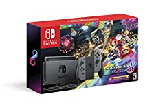 This bundle includes the Nintendo Switch console, dock, Joy Con (L) and Joy Con (R), 2 Joy Con straps, 1 Joy Con grip, HDMI cable, AC adapter, and a full game download code for Mario Kart 8 Deluxe. Includes original Nintendo Switch model hac-001, bat...