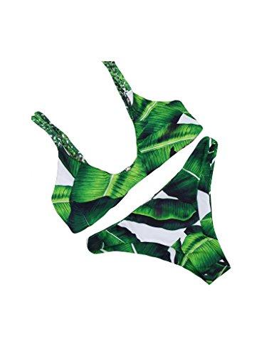 Bestgift vrouwen gevlochten touw gewatteerde bladeren patroon Bikini Set