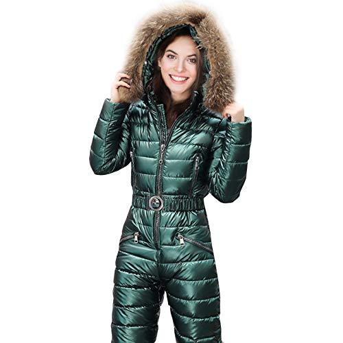 N/K Damen Ski Anzug Einteiler, Winddicht Wasserdicht Damen Skijacken und Hosen Set, Outdoor Kapuze Sport Schneeanzug Winter Ski Jumpsuit für Frauen