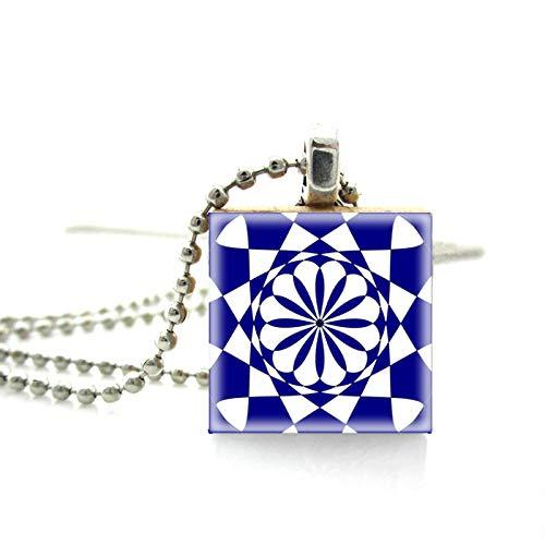 Vintage Mosaikfliesen Mandala Muster Druck Holz Scrabble Fliesen Halskette Hand Handwerk Anhänger Schmuck Kugelkette Halskette