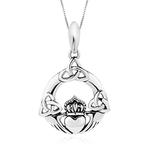925 Sterling Silver Oxidized Irish Claddagh Friendship Celtic Knot Pendant Necklace, 18'