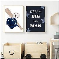 artaslf 野球ゴルフはスポーツの壁の芸術のポスターと版画を引用しますキャンバスの絵画北欧の子供部屋の装飾-40x60cmx2フレームなし