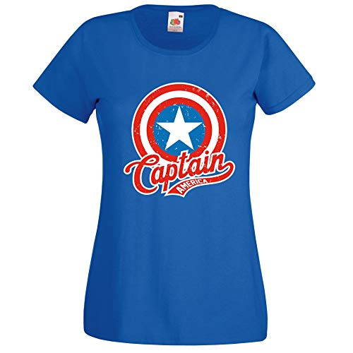 Donna T-Shirt Maglietta Motivo America Captain - Blu Reale S
