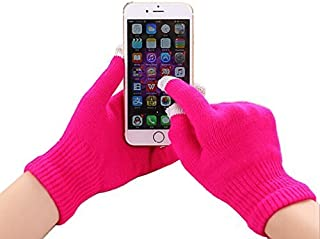 I-Sonite (Hot Pink) Universal Unisex One Size Winter Touchscreen Gloves for LG K10 Power
