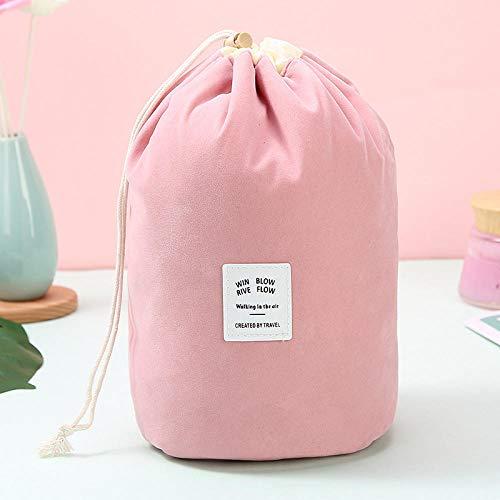 Cylindre en Flanelle Cordon de Serrage Sac à cosmétiques Pratique Sac de Rangement pour Voyage Sac de Rangement pour cosmétiques-Rose