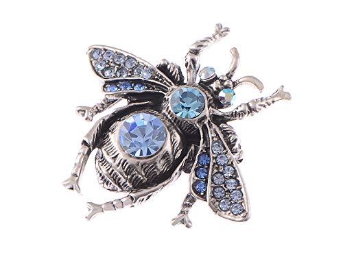 ALILANG Frauen Gunmetal Antike Blau Strass Insekt Biene Fliegen Brosche