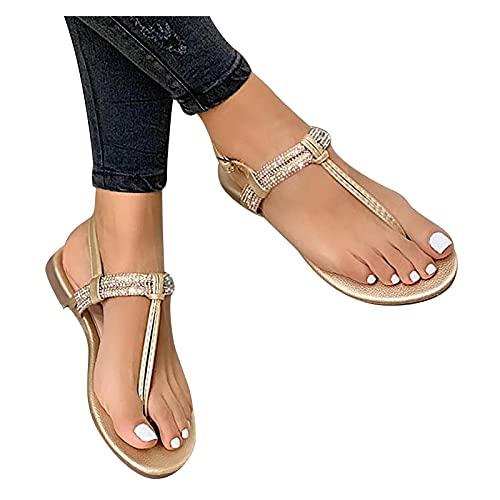 Orgrul Sandalias Mujer Verano 2021, Chanclas Mujer Verano, Planas Zapatos Sandalias Mujer Chanclas Tacon del Verano Zapatos Bohemias Cómodos Las Sandalias Plana 943 (43, K)