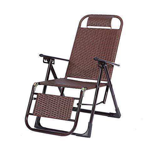 MRZZ Wicker stoel ligstoel, vouwen Lunch Break Lazy Office Nap Bed Outdoor Beach stoel Adult Siesta Backrest Lounge stoel Balkon Tuin Office.