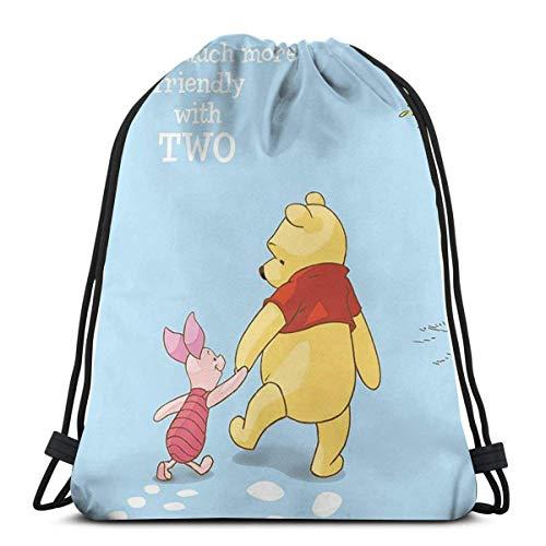 LREFON Winnie The Pooh Classic Drawstring Bag Gym Mochila Hombre Mujer Sport Storage Bandolera