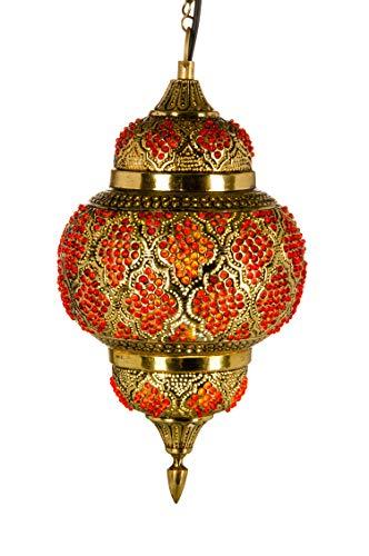 Orientalische Messing Lampe Pendelleuchte Gold Alyah 38cm E27 Lampenfassung | Marokkanische Design Hängeleuchte Leuchte | Orient Lampen für Wohnzimmer, Küche oder Hängend über den Esstisch