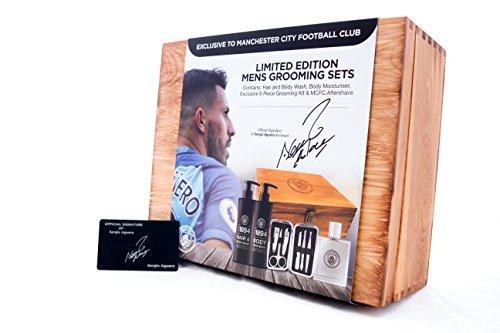 Dopobarba set regalo ufficiale Manchester City Football–grande regalo per papà e bambini–Logo in rilievo su scatola di legno con Sergio Aguero Signature card–New 2017Gift set–Prodotto ufficiale.