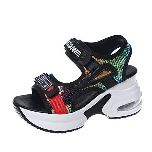 Sandali sportivi da donna Moda estiva Paillettes Cuscino d'aria Antiscivolo Cucitura Adesivo magico Sandali casual tutti i giorni casual