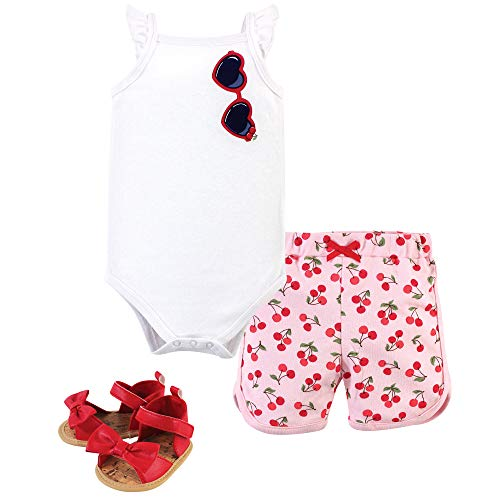 Little Treasure Baby Girl Sleeveless Cotton Bodysuit, Short and Shoe Outfit Set, 3pc