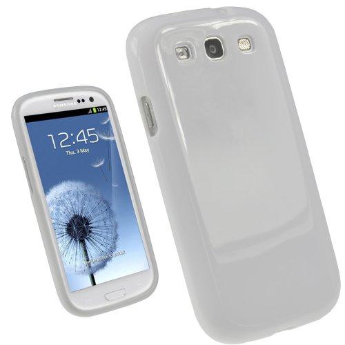 igadgitz U1704 Weiss Weiß Glänzend KristallGel TPU Tasche Schutzhülle Hülle Case Skin Kompatibel mit Samsung Galaxy S3 III i9300 +Display Schutzfolie